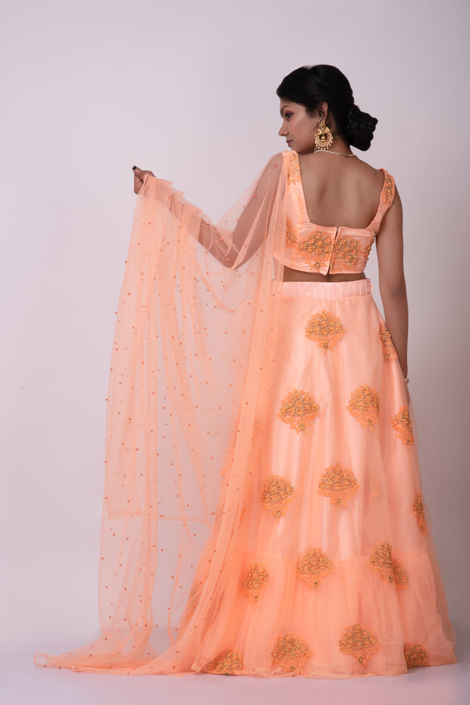 Light orange net embroidered lehenga with pleated belt