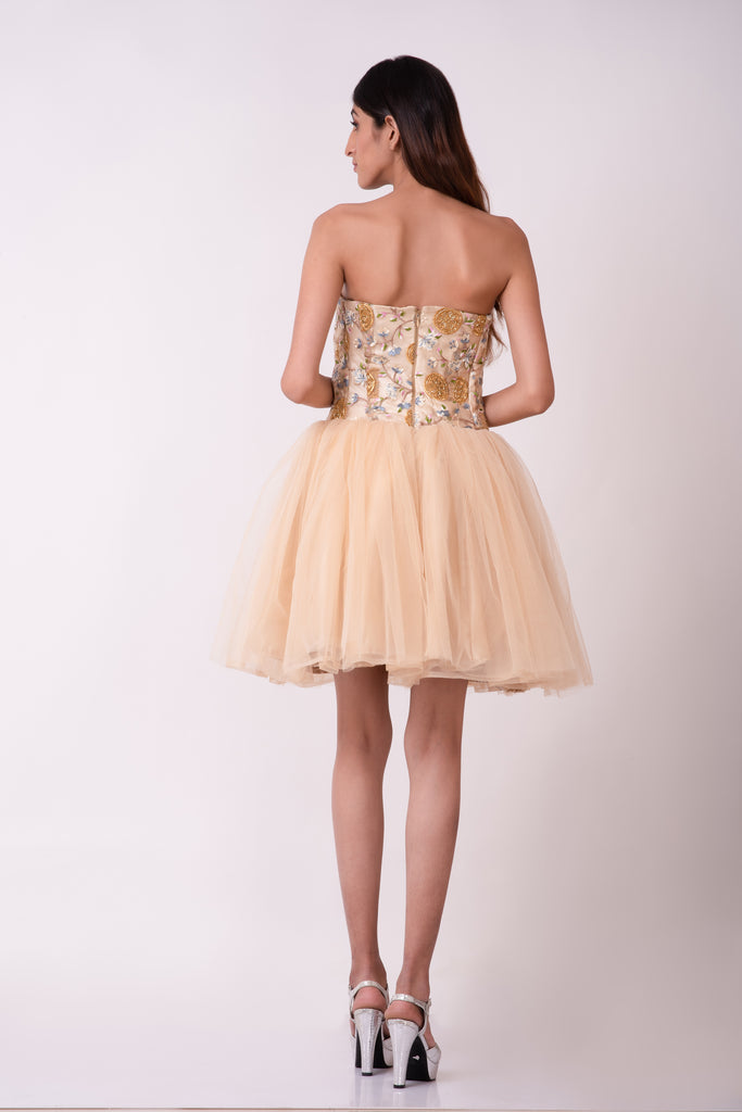 Beige strapless corset embellished gown