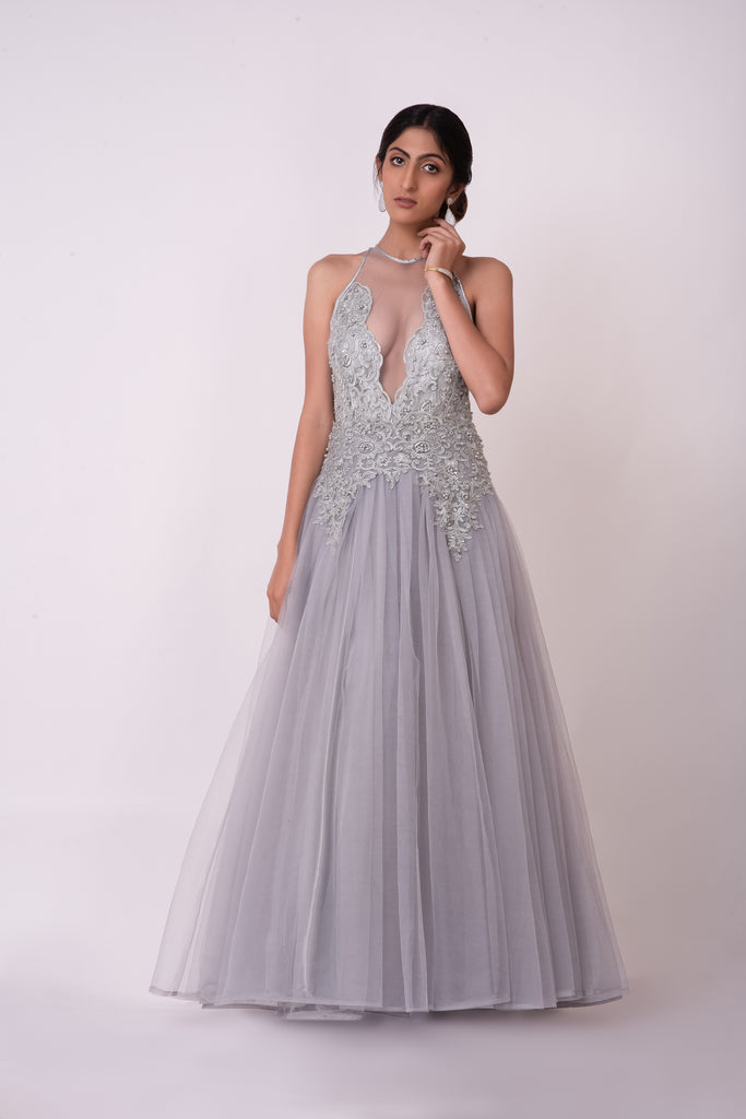 Silver grey floral lace appliqué prom evening dress
