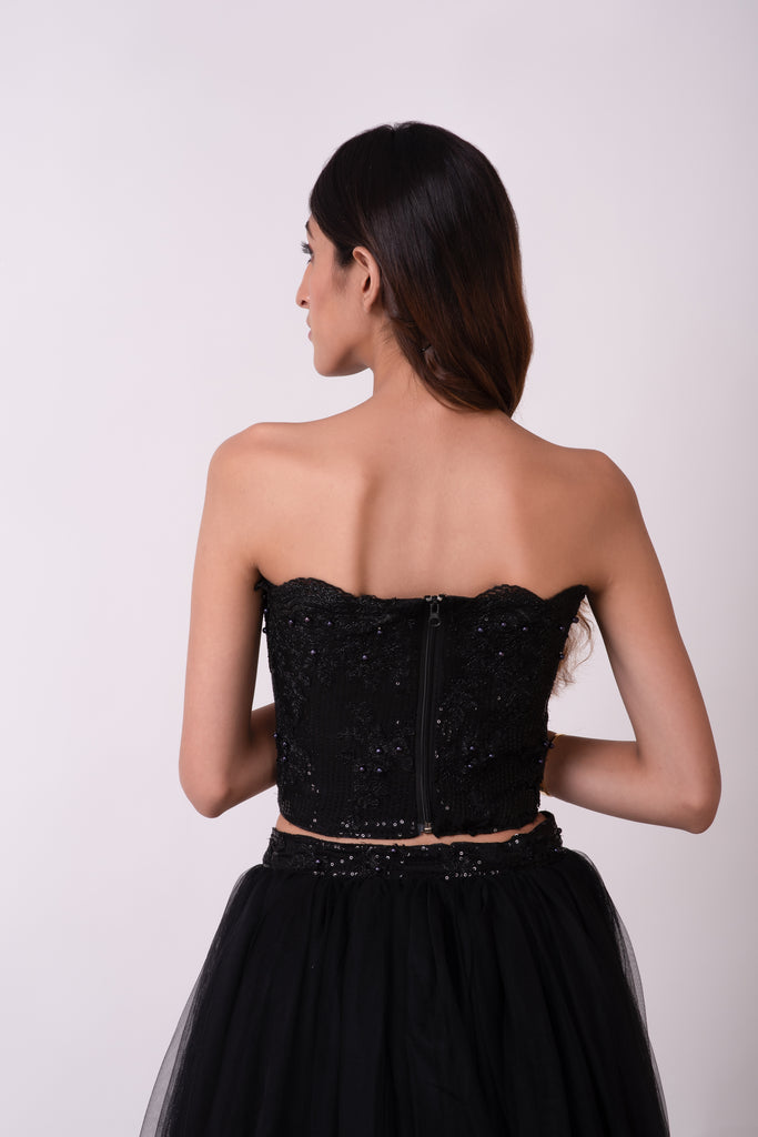 Black sequin and floral Appliqué strapless corset with full gathered skirt