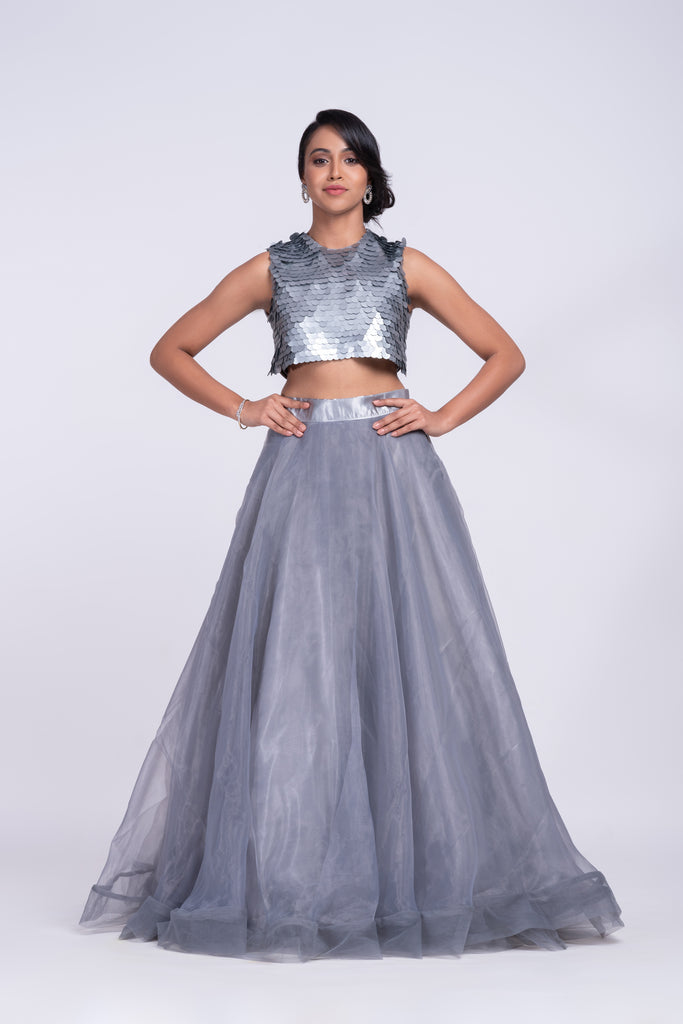 Charming two-piece prom dress with big sequins