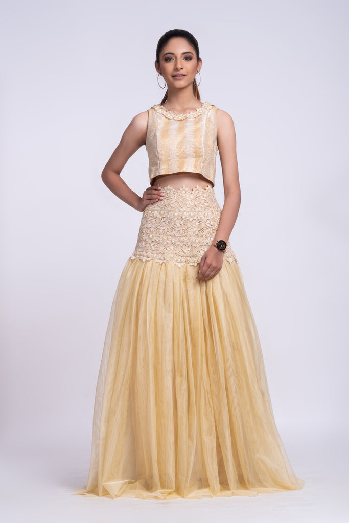 Cream Floor length high waist fit and flare lehenga set