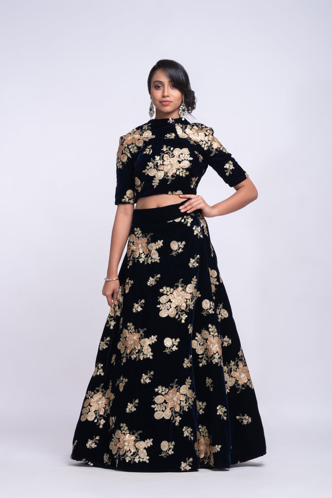Navy blue velvet lehenga with fully sequins work