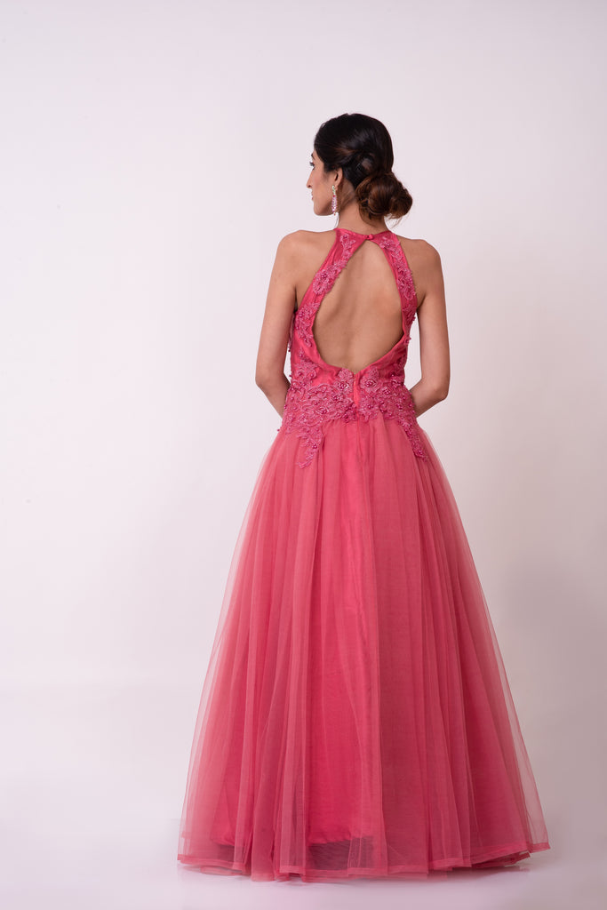 Plum pink floral lace appliqué prom evening dress