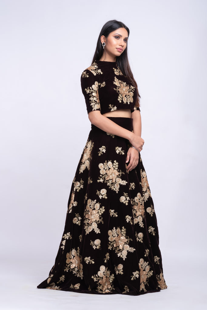 Espresso velvet lehenga with fully sequins work