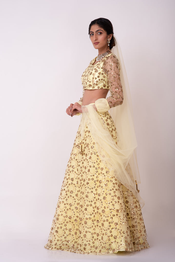 Lemon yellow lehenga embellished in sequin embroidery