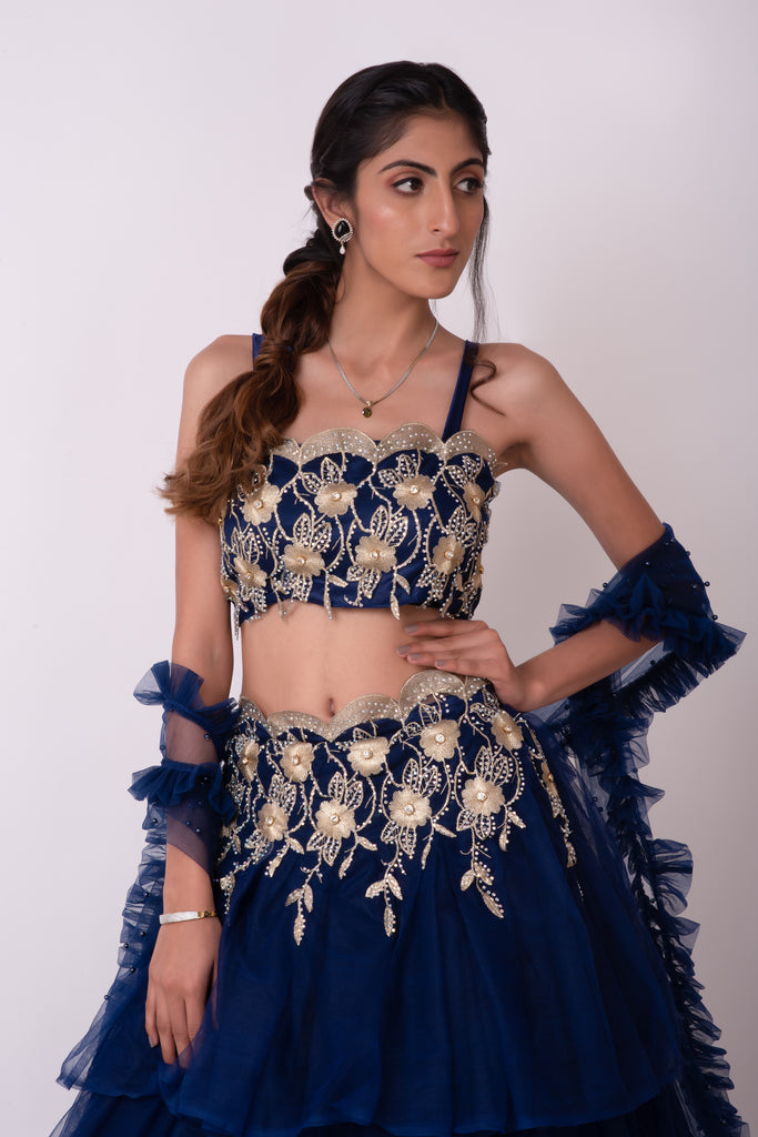 Persian blue embellished layered lehenga