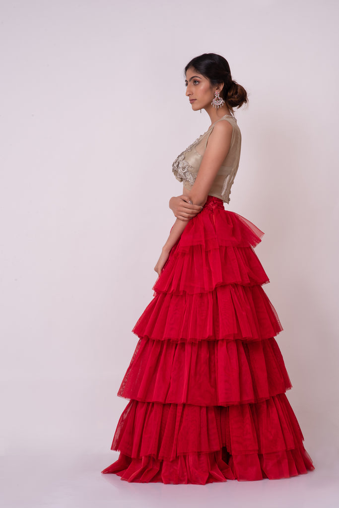 Red high waist tulle layered long elegant bottom with 3d flower