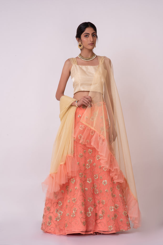 Peach lehenga with raw silk top