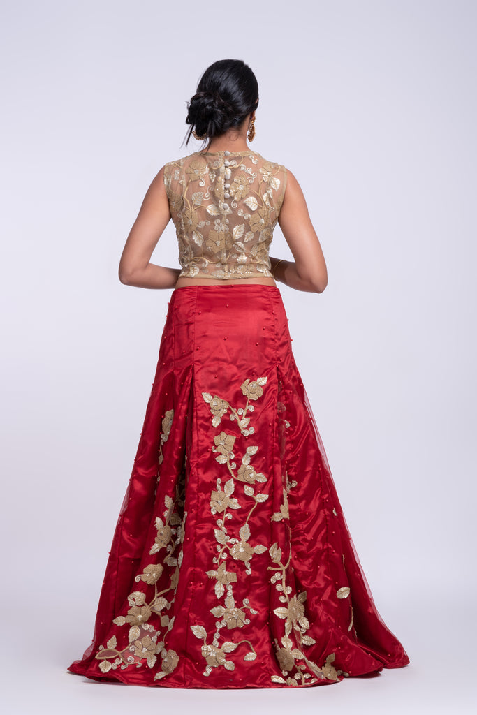 Inverted pleat lehanga with golden floral applique