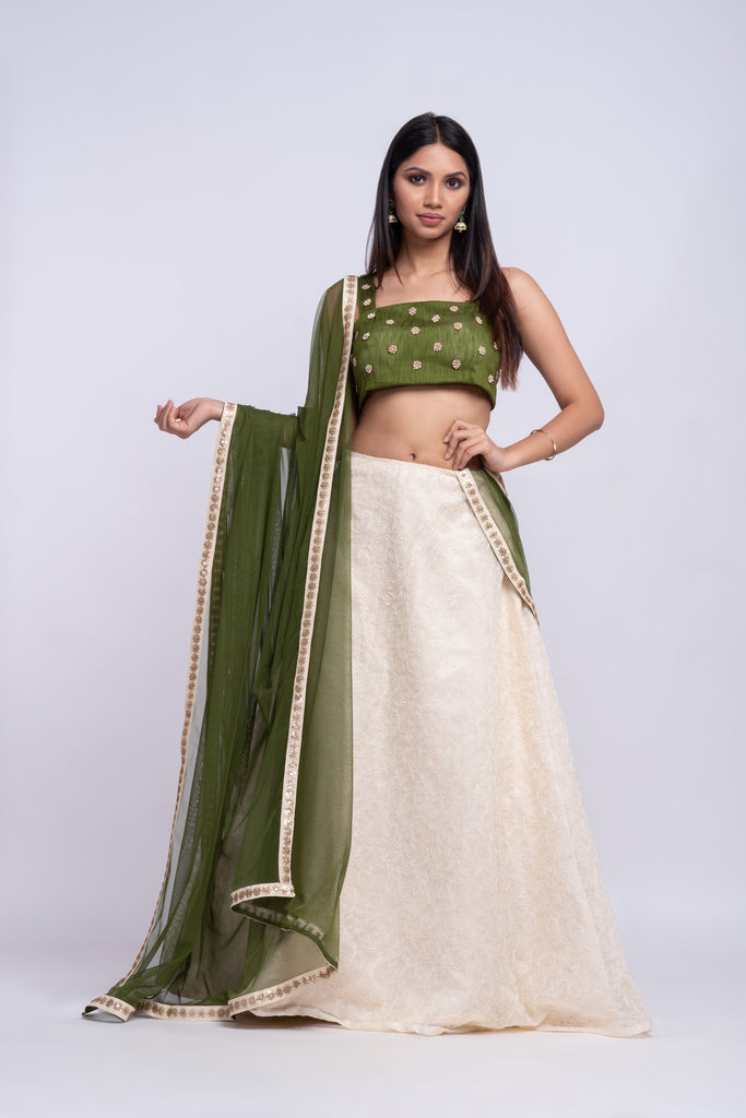 Jute lehenga  with hand embroidered top