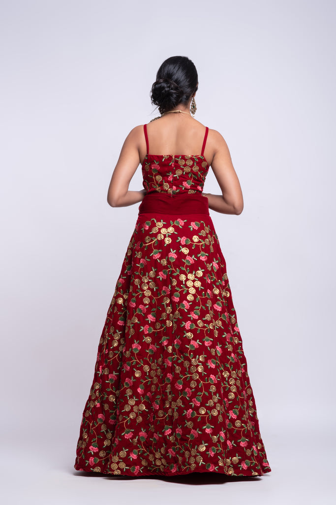 Red velvet bridesmaid lehenga