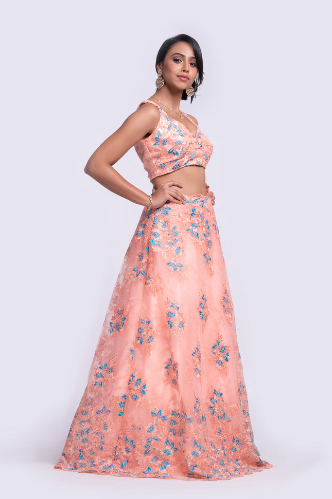 Soft peach fully embroidered lehenga