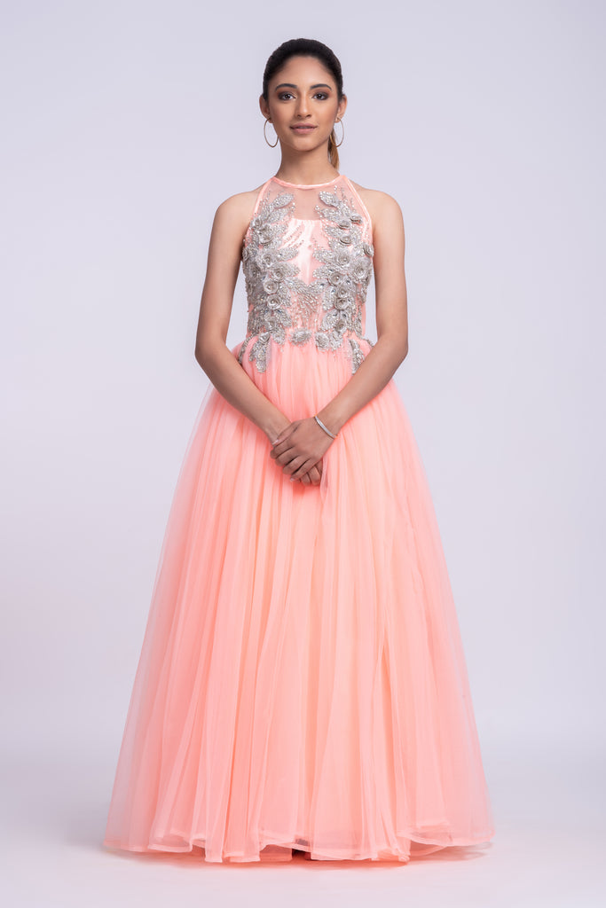 3D floral appliqué embroidered gown with halter neck pink