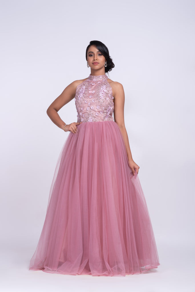 Peonies pink gown with high neck band
