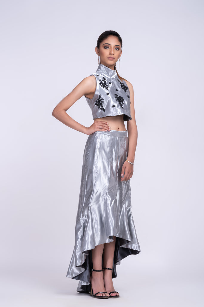 Sterling silver high-low skirt with crop top