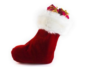 Santa's Finest Christmas Plush Stocking with Shag Trim-20""