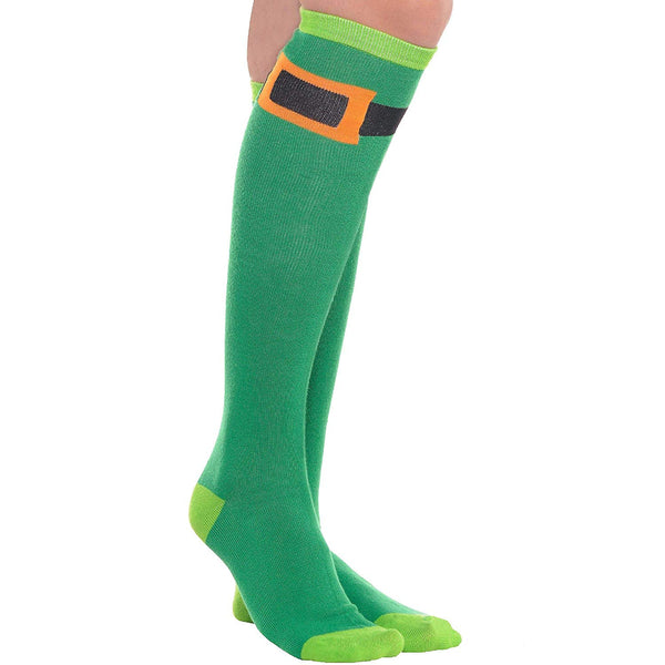 Amscan 393287 St. Patrick's Day Knee High Socks, One Size, Green