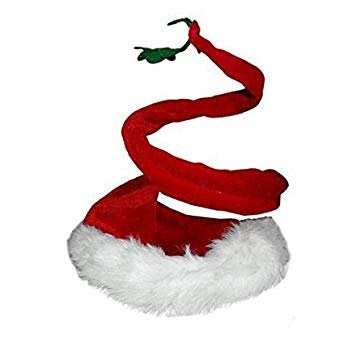 West Coast Dealz Curly Santa Hat with Mistletoe