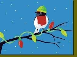 Christmas Finch on Lit Branch Holiday Boxed Cards-Set of 8