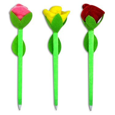 FABRIC ROSE PENS, ASSORTED, COLOR VARIES