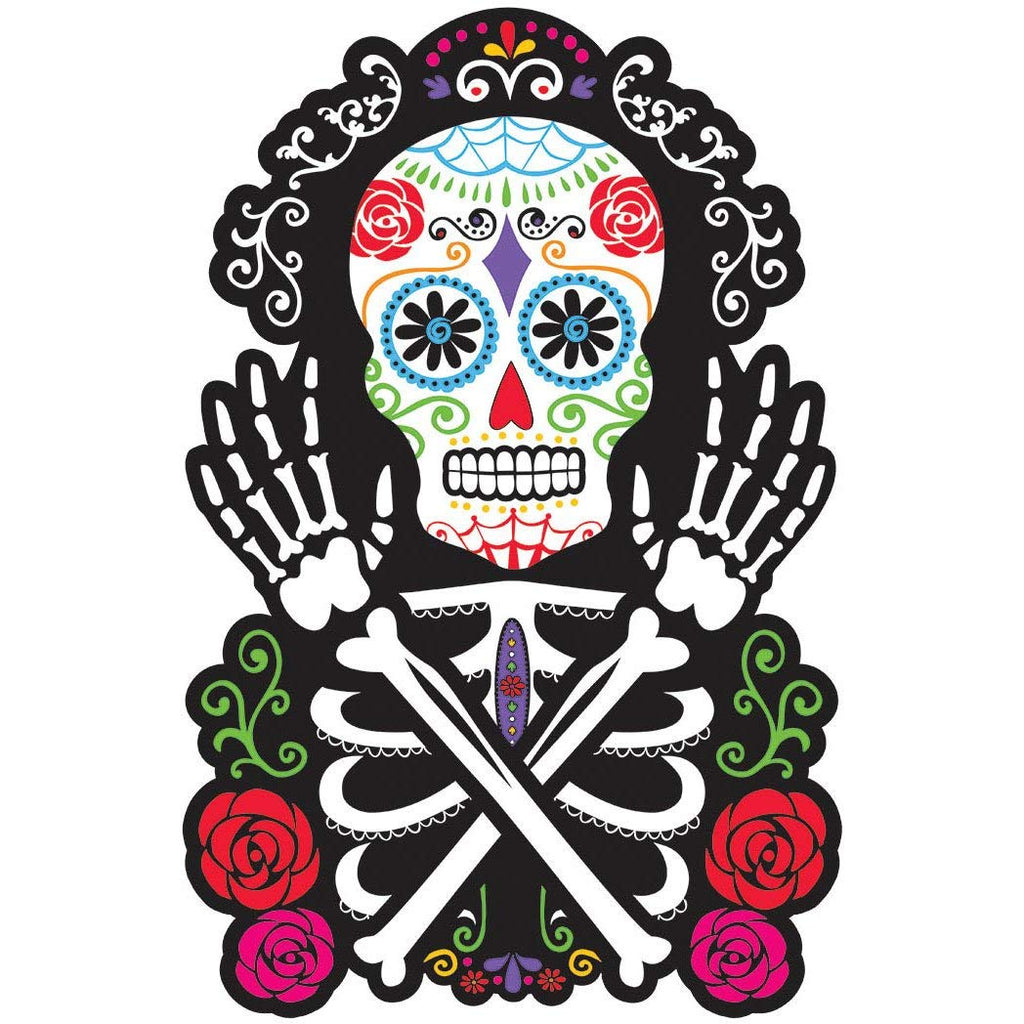 Amscan Day of the Dead Resting Sugar Skull Cutout Decoration, 1 count
