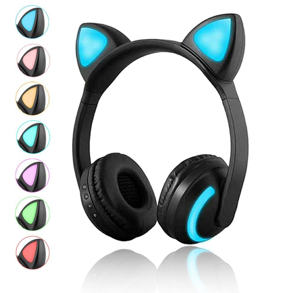 Wireless Bluetooth Cat Ear Headphones with Mic 7 Colors LED Light Flashing Glowing On-Ear Stereo Headset