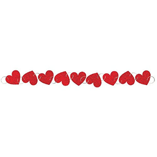 Amscan 220119 Heart Ring Garland, 9', Red