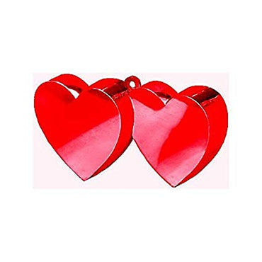 Valentine Double Heart Metallic Red Balloon Weight | Party Decoration