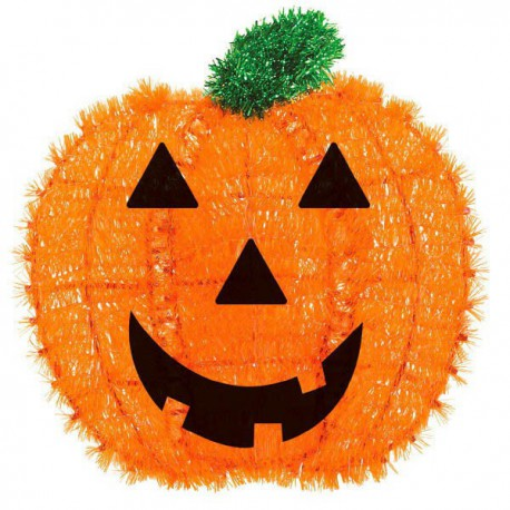 Happy Halloween Tinsel Pumpkin Decoration