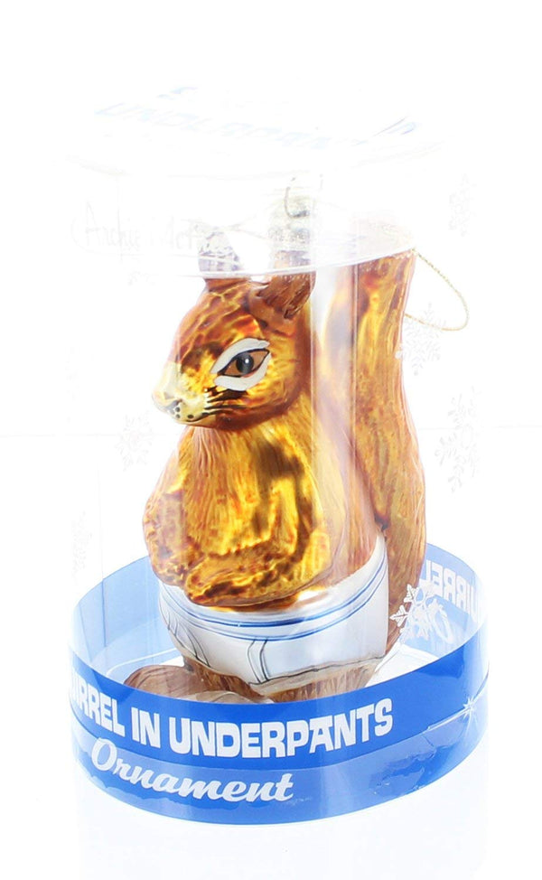 Archie McPhee Squirrel in Underpants Glass Blown Ornament