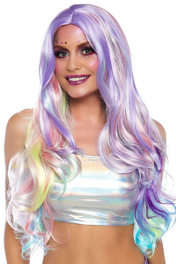 Leg Avenue Long Wavy Pastel Rainbow Adult's Costume Wig, One Size