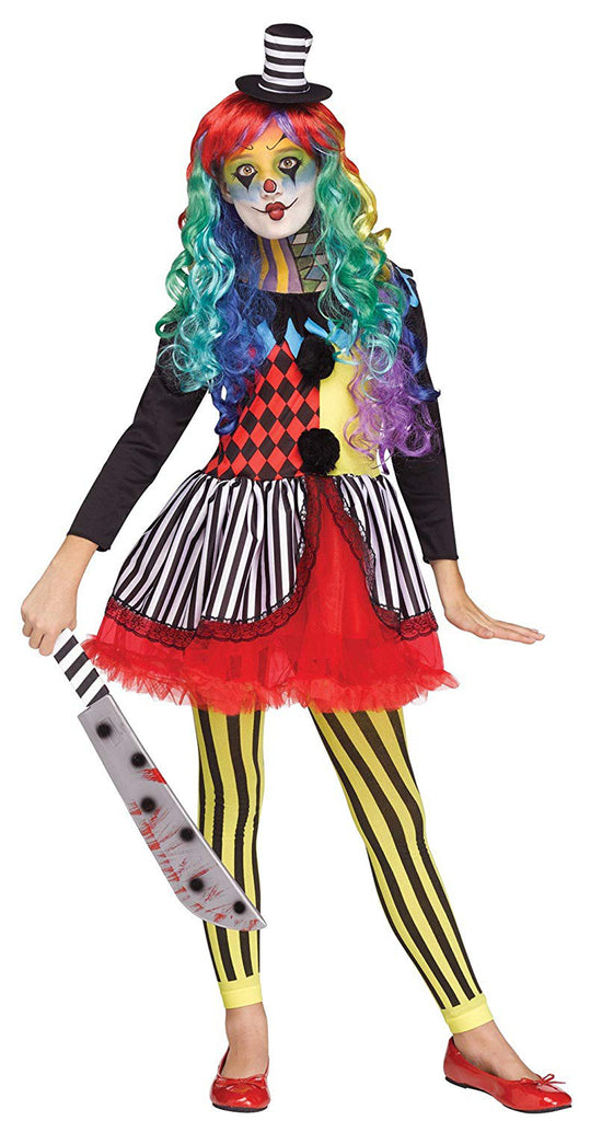 Fun World Colorful Freakshow Clown Girls' Party Costume