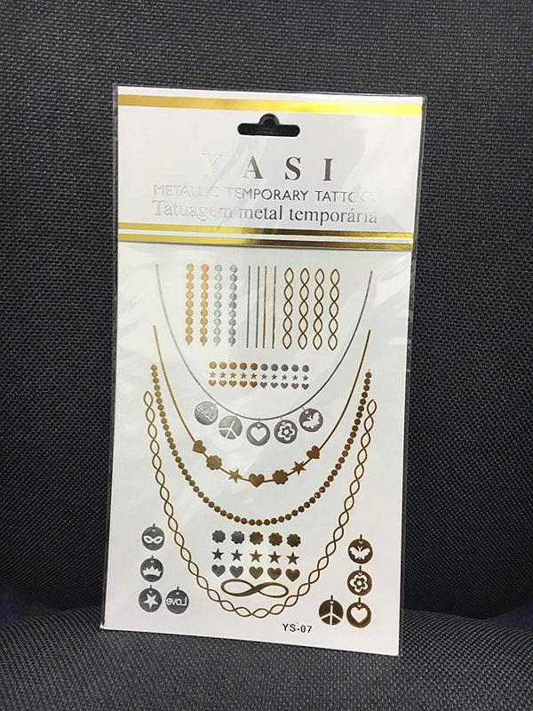 Yasi Gold and Silver Metallic Temporary Tattoos, Assorted, 1 count