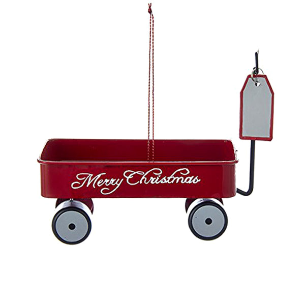 "Kurt Adler ""Merry Christmas"" Metal Wagon Hanging Tree Ornament"