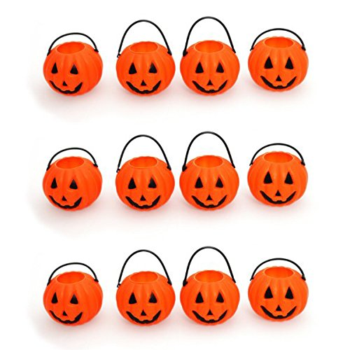 Amscan Mini Halloween Treat Buckets Party Favor Set, 2.5 inches, 12 count