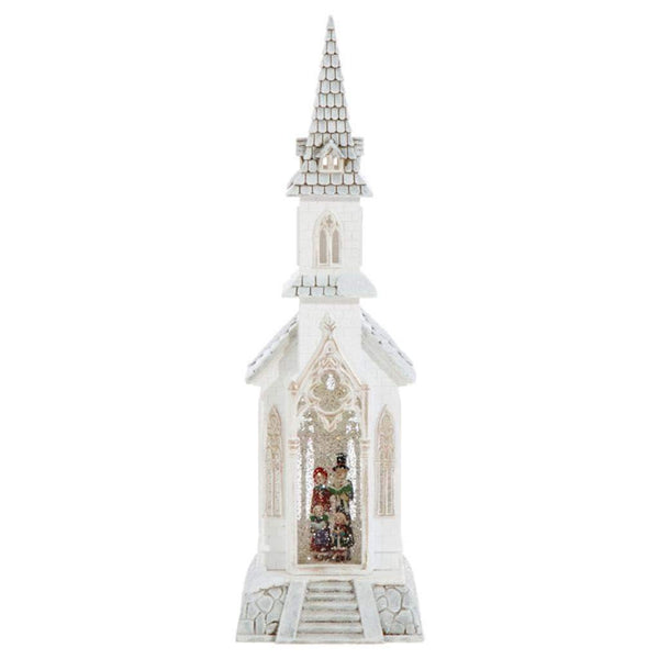 "Raz Imports 18"" CAROLER LIGHTED WATER CHURCH"