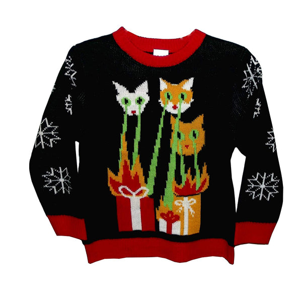 FunQi Gifts Cat-zilla Children's Novelty Christmas Ugly Sweater