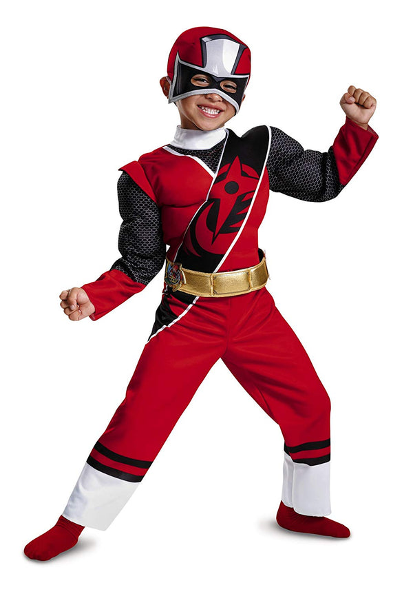 Disguise Power Rangers Ninja Steel Toddler Muscle Costume, Red, Medium (3T-4T)