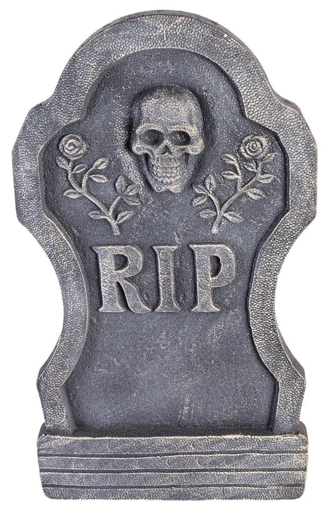 "Forum Novelties ""RIP"" Skull with Roses Tombstone Halloween Decor"