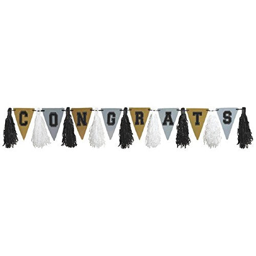 Amscan Graduation Tassel Garland for Black, Silver and Gold Party Theme Hanging Decoration, Paper, 10'.