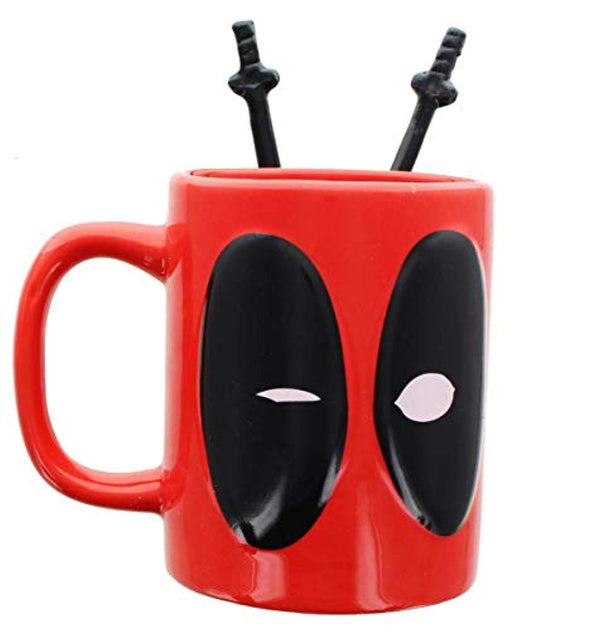 Deadpool Coffee Mug with Sword Stirring Spoons