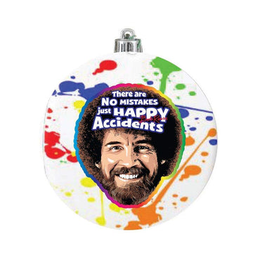 "Bob Ross ""There are No Mistakes Just Happy Accidents"" Glass Ball Ornament"