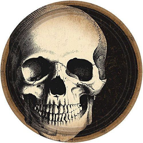 Amscan Boneyard Skull Halloween Paper Party Plates Value Pack, 9 inches, 60 count