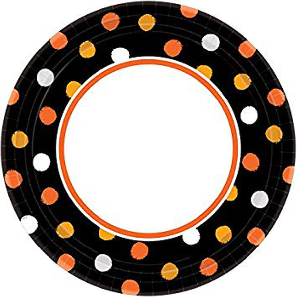 Amscan Candy Corn Colors Halloween Papper Party Plate Value Pack, 7 inches, 40 count