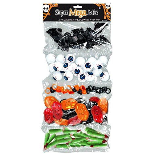 Amscan Halloween Super Mega Mix Party Favor Value Pack, 100 pieces