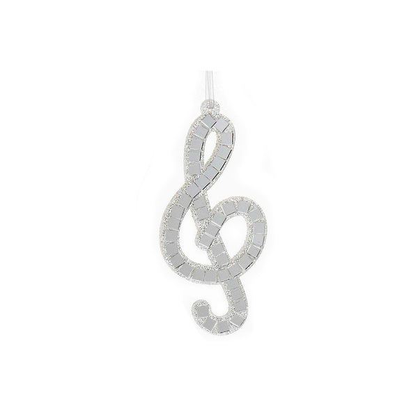 Kurt S. Adler Silver Mirror Musical Note Ornament-Treble