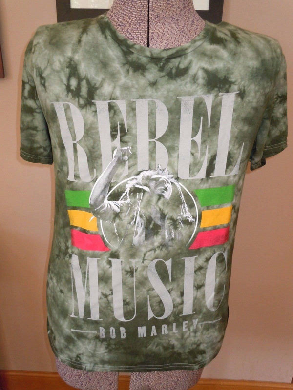 MENS REBEL MUSIC BOB MARLEY GREEN TIE DYE T SHIRT