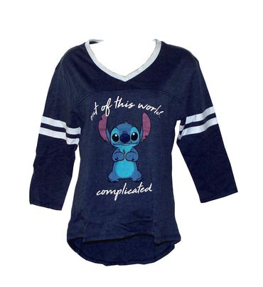 "Disney Stitch ""Out of This World"" Juniors' Long Sleeve V-Neck Shirt, Navy Blue"