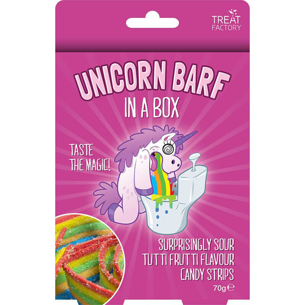 Toysmith Unicorn Barf in a Box Sour Candy Strips Candy, 2.47 ounces